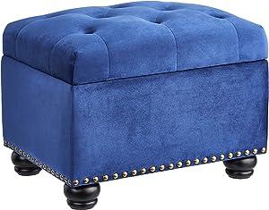 High End Dark Classy Tufted, Accents Rectangular Storage Bench Ottoman Footstool, Dark blue