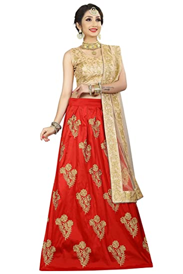 b86c7403a20f Krami Women s Taffeta Silk Golden Embroidered Lehenga