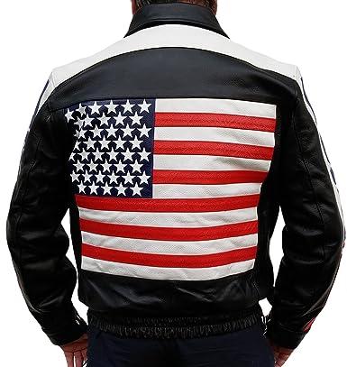 Veste Moto Stars Usa And Drapeau En Cuir De Des Stripes HzHr7