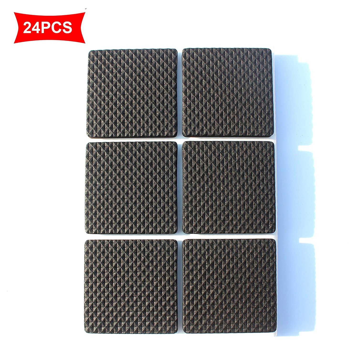 Premium Furniture Pads, Heavy Duty Self Stick Furniture Felt Pads For Hardwood Floors & Noise Dampening Clear Rubber Bumper Pads (Square 4.6CM 24PCS) LLRY