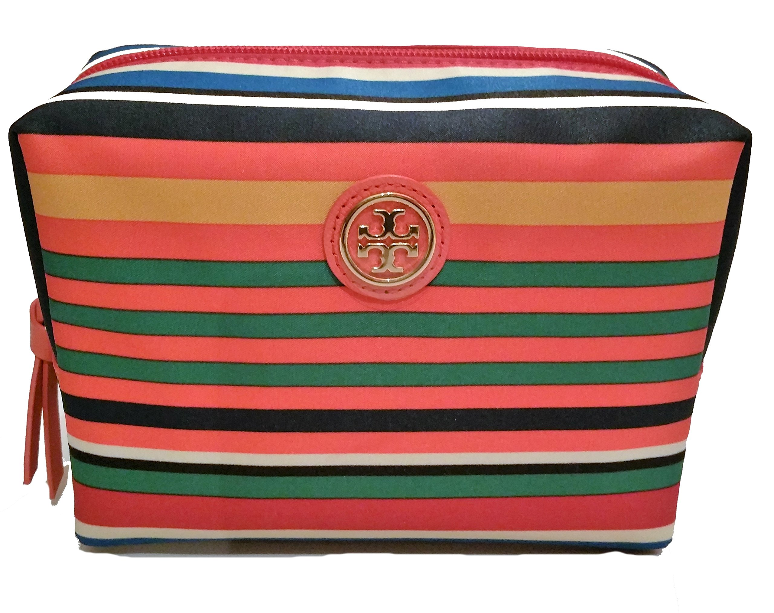 Tory Burch Women's Printed Nylon Brigitte Cosmetic Case, Multi Stripe, One Size