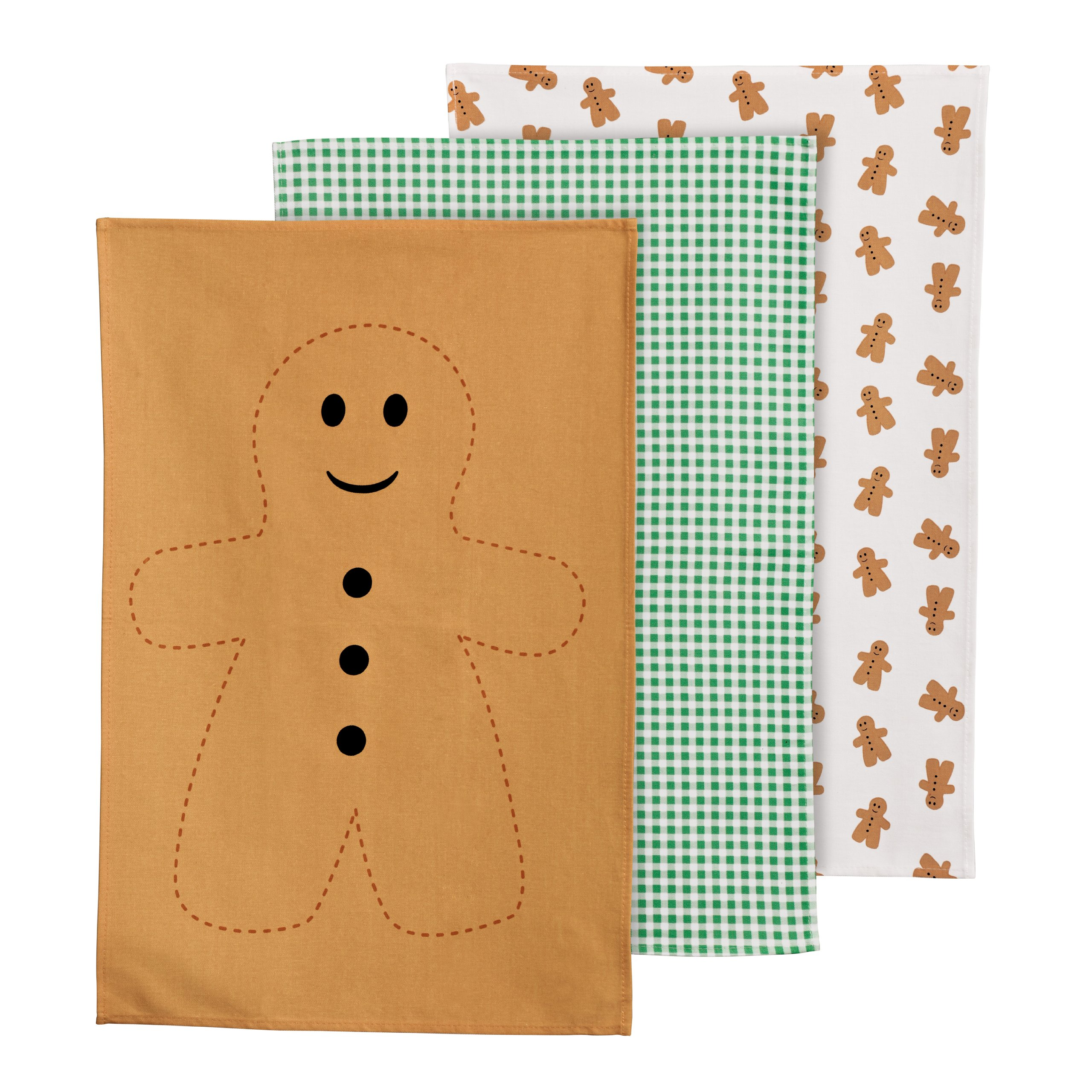 Premier Housewares Gingerbread Man Tea Towels - Set of 3 by Rubiesofuk