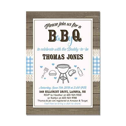 Fishing Baby Shower Invitation Set of 10 5x7 cardstock invitations with white envelopes Coed Fishing Baby Shower Invitation