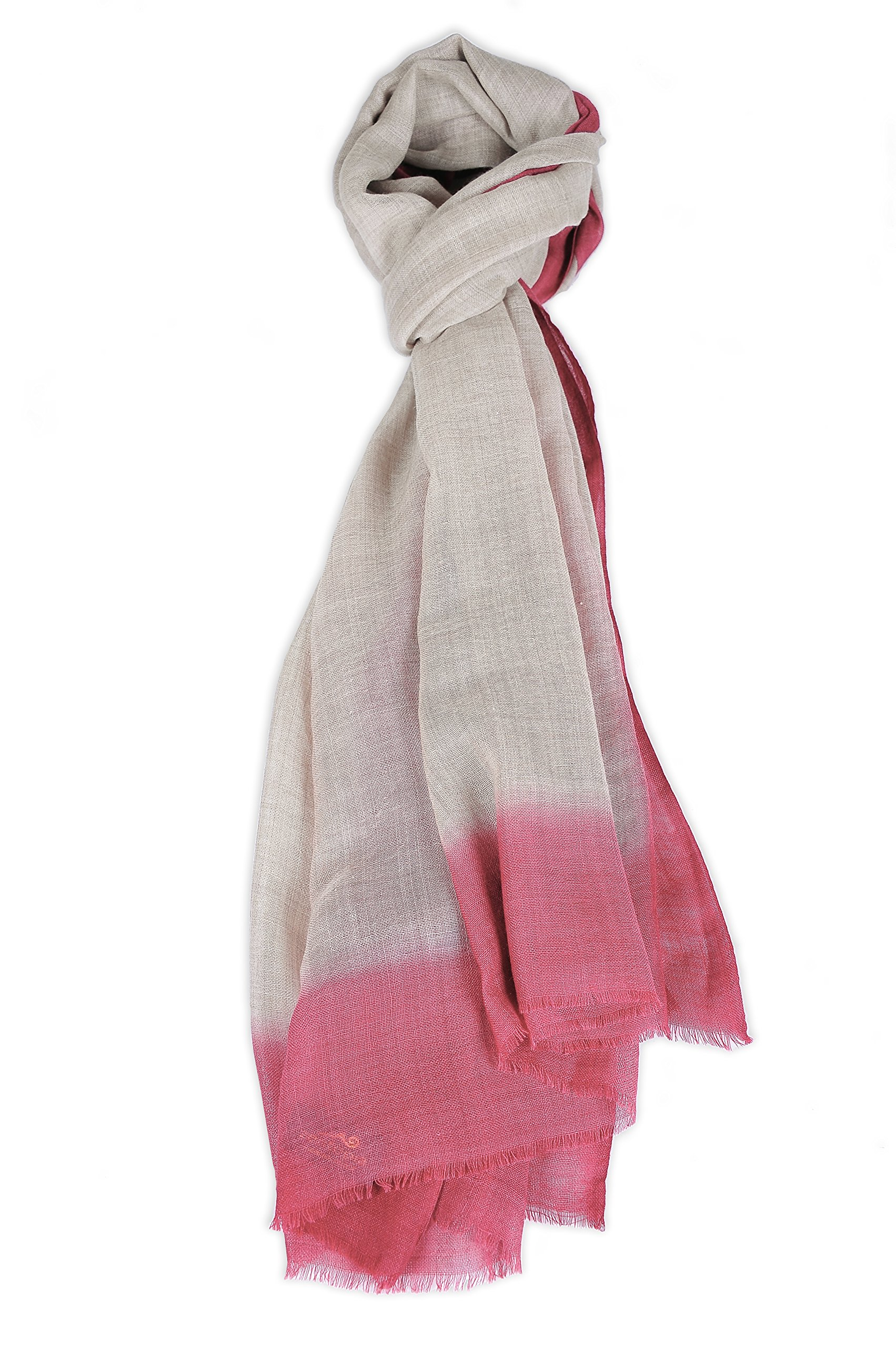 Zentopia cashmere blend handmade hand dye scarf ink style ultra light weight (Red) by Zentopia