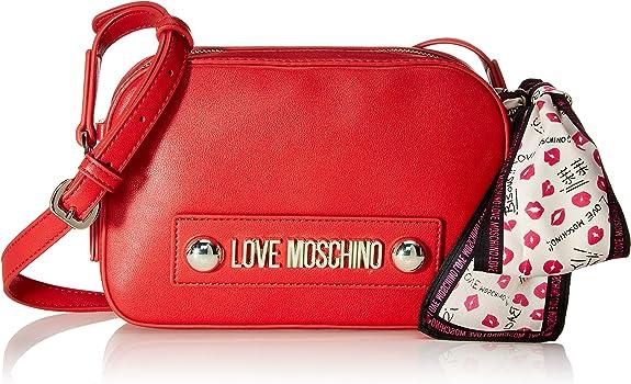 Love Moschino Borsa Natural Grain PU, bolso bandolera para Mujer, rojo, 15x6x22 centimeters (W x H x L)