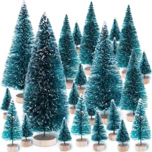 Leinuosen Mini Christmas Trees Artificial Sisal Trees Snow Frost Ornaments with Wooden Bases for Christmas Home Party Decoration (Size 1, 68 Pieces)