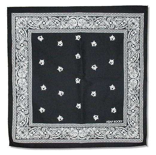Amazon com: ASAP Rocky Anarchy Symbols Paisley Black Bandana