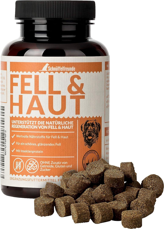 Schnüffelfreunde Fell & Haut I Complemento Alimenticio para Perros para Ayudar al Pelaje y la Piel - Beneficioso para el Pelo y Pelaje Brillante del Perro - con Aceite de Coco y Levadura de Cervez