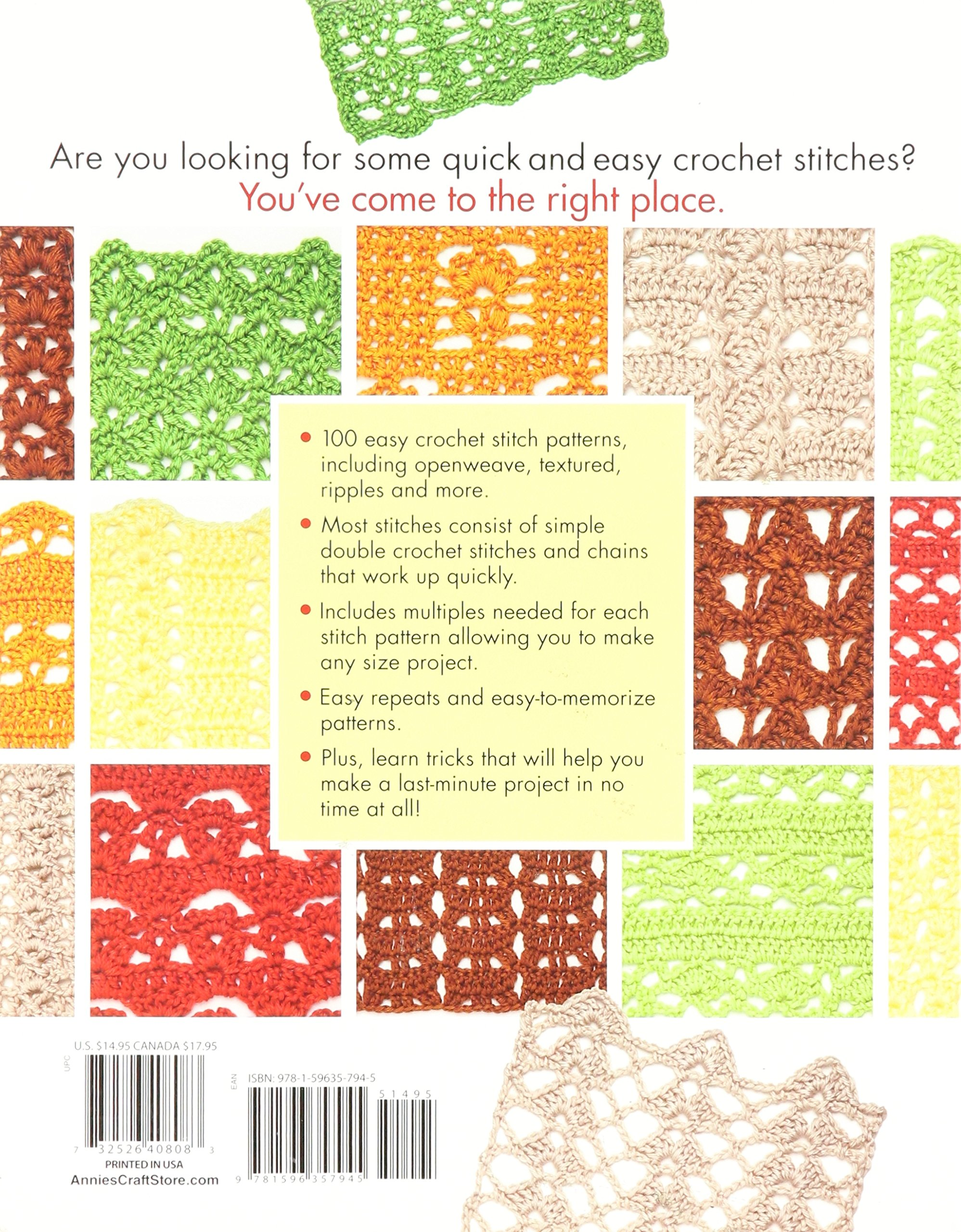 100 quick easy crochet stitches easy stitch patterns including 100 quick easy crochet stitches easy stitch patterns including openweave textured ripple and more annies crochet darla sims 9781596357945 fandeluxe Images