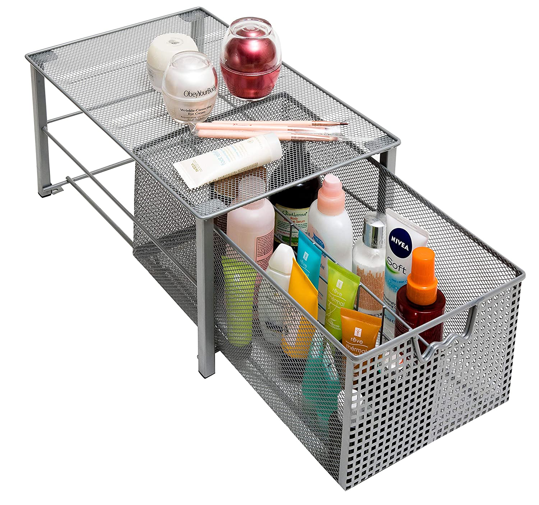 Silver Shower Metal Storage Drawer Pantry Supplies Medium Garage Shelving Bathroom Amtido Mesh Cabinet Basket Organisers Medium Kitchen Undersink Sliding Rack with Dividers for Spice