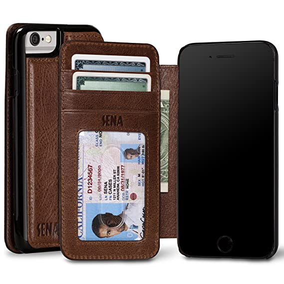 best service 4fe00 f2e79 Sena Ultra Thin Wallet Book, Thinnest Book Style Wallet case Solution for  The iPhone 7 and iPhone 6s - Cognac