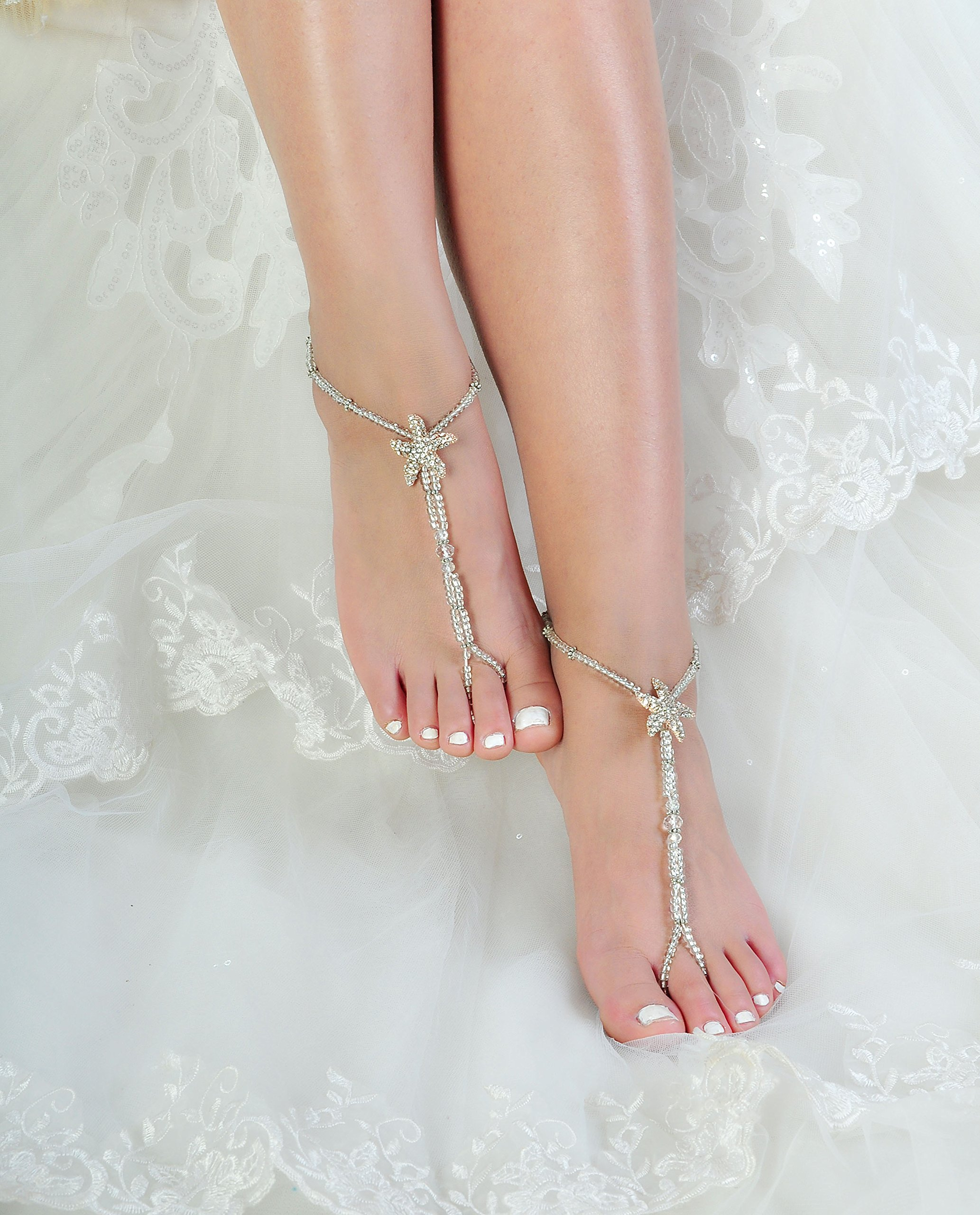 Beaded Bridal Barefoot Sandals,Wedding Anklet,Crystal Sandals,Bridesmaid Gift by Fine Lady (Image #2)