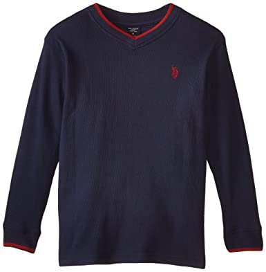 U.S. Polo Assn. Big Boys V-Neck Thermal Pullover