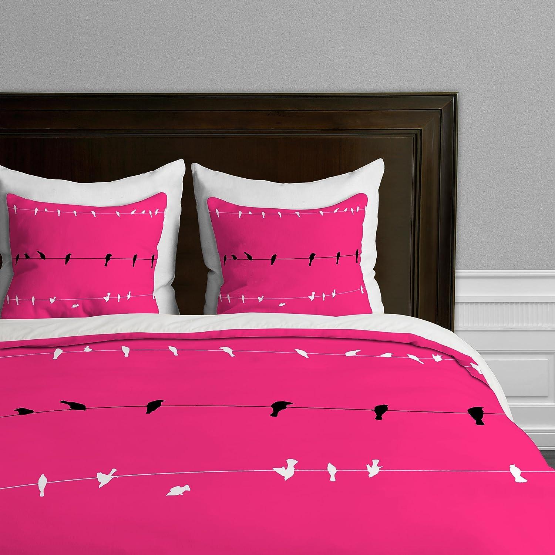 Neon Nature Queen Deny Designs  Shannon Clark Three Little Birds Duvet Cover, Queen