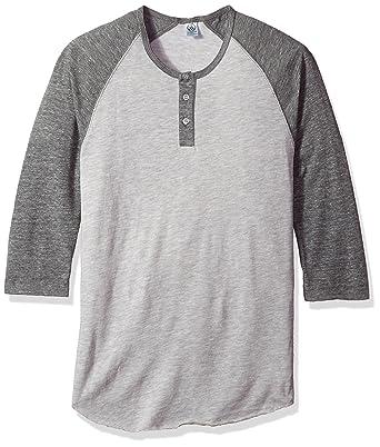6213577a Alternative Men's Raglan 3/4 Sleeve Henley Shirt, Oatmeal/eco Grey, ...