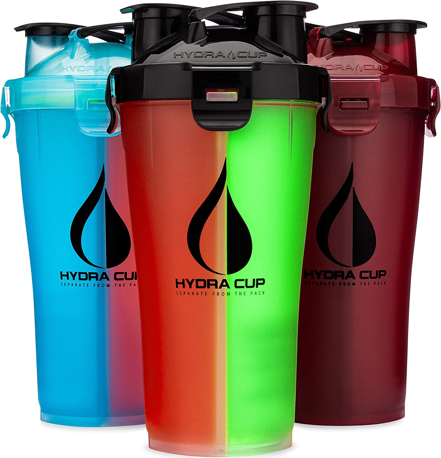 Hydra Cup [3 Pack] 30oz Dual Threat Shaker Bottle, 2-in-1 Protein Blender Cup for Pre & Post, Save Time