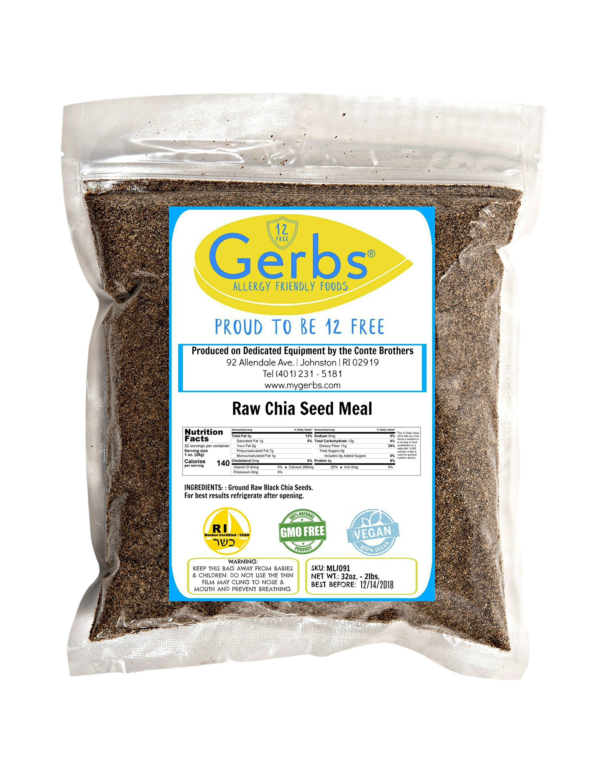 Ground Black Chia Seed Meal 2 LBS By Gerbs - Top 12 Food Allergy Free & NON GMO - Vegan & Kosher – Premium Full Oil Content Raw Chia Protein Powder