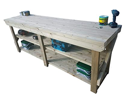 Marvelous Workbench With Double Shelf Indoor Outdoor Pressure Treated Heavy Duty Handmade Garage Workshop Work Table 3Ft Andrewgaddart Wooden Chair Designs For Living Room Andrewgaddartcom