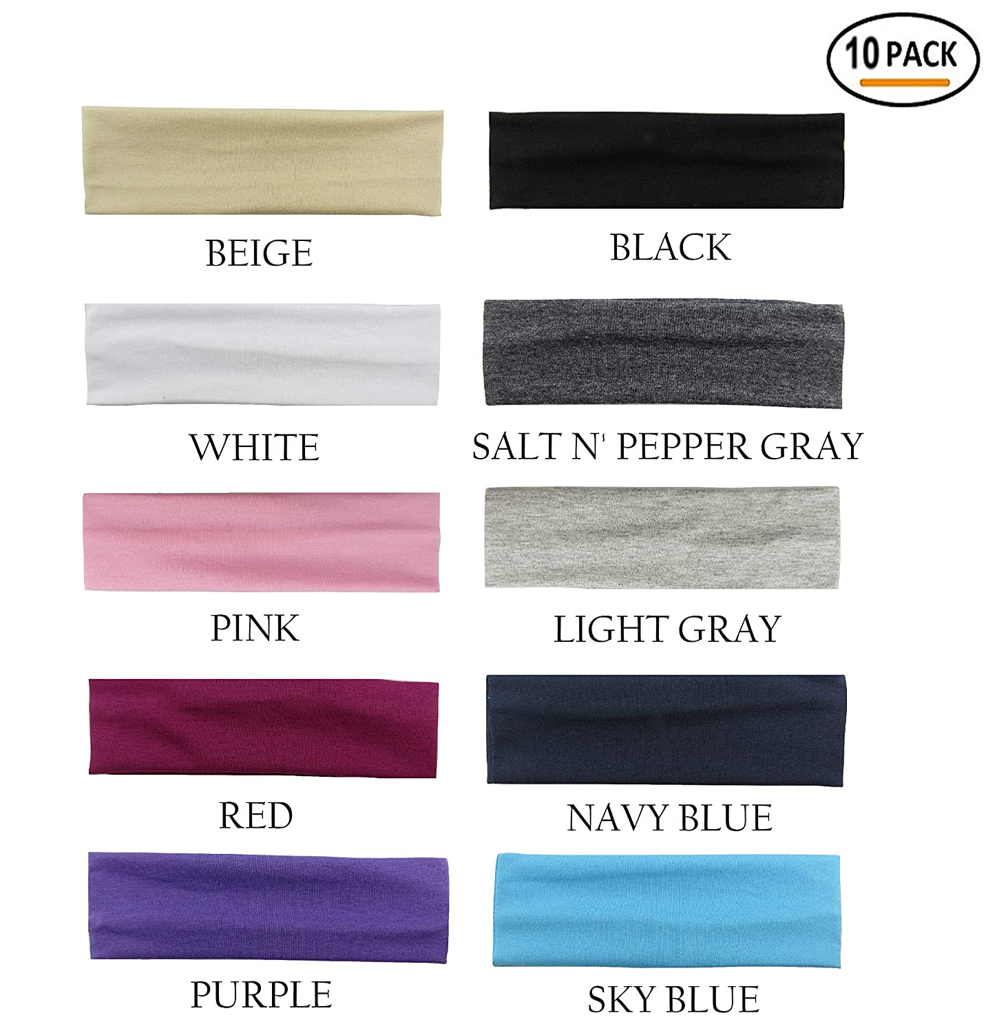 Styla Hair 10 Pack Yoga Headbands - Elastic Cotton Multi-Function Sports Head Bands Stretchy Wraps...