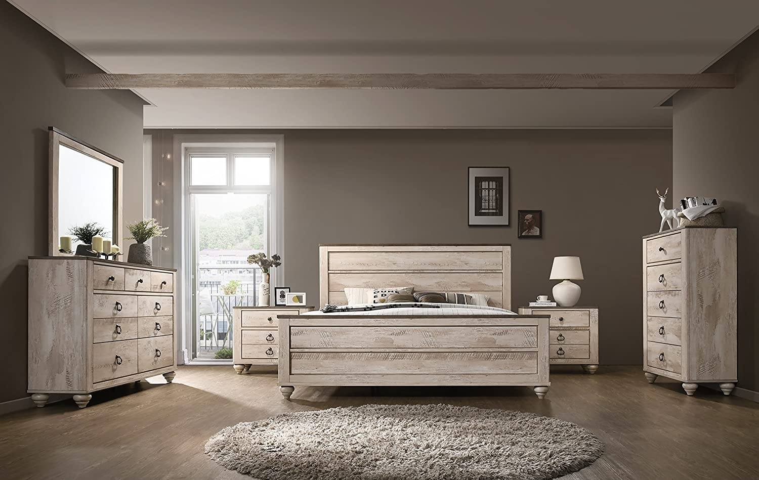 Amerland Contemporary White Wash Finish 6-Piece Bedroom Set