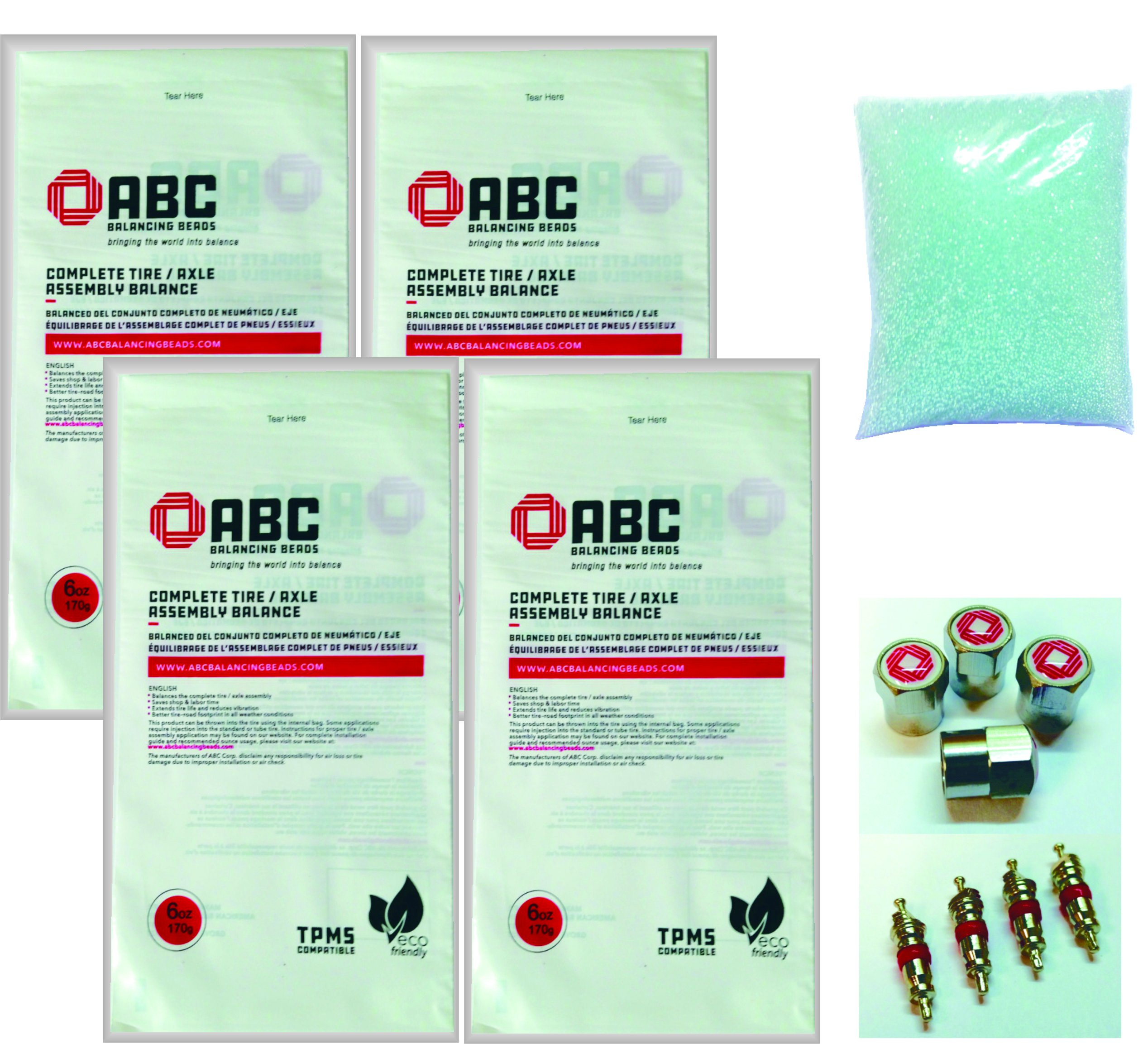 ABC Balancing Beads DIY-6 - For Pick Up Truck - Kit contains 4 x 6oz Bags (24oz)of ABC Balancing Beads, 4 Valve Cores, 4 ABC Valve Caps. by American Balancing Corp
