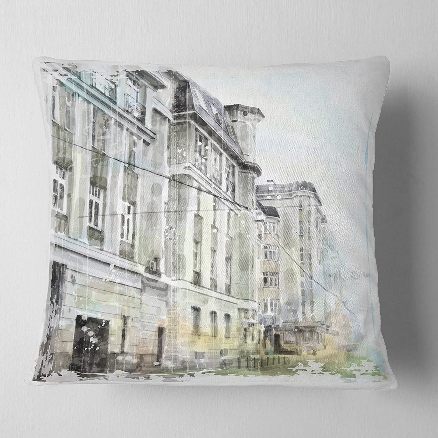 Insert Printed On Both Side in Sofa Throw Pillow 16 in Designart CU7688-16-16 Watercolor Dark Illustration Cityscape Painting Cushion Cover for Living Room x 16 in