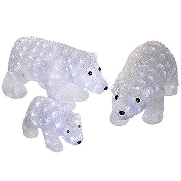werchristmas pre lit acrylic polar bears figures with 144 led lights large bright