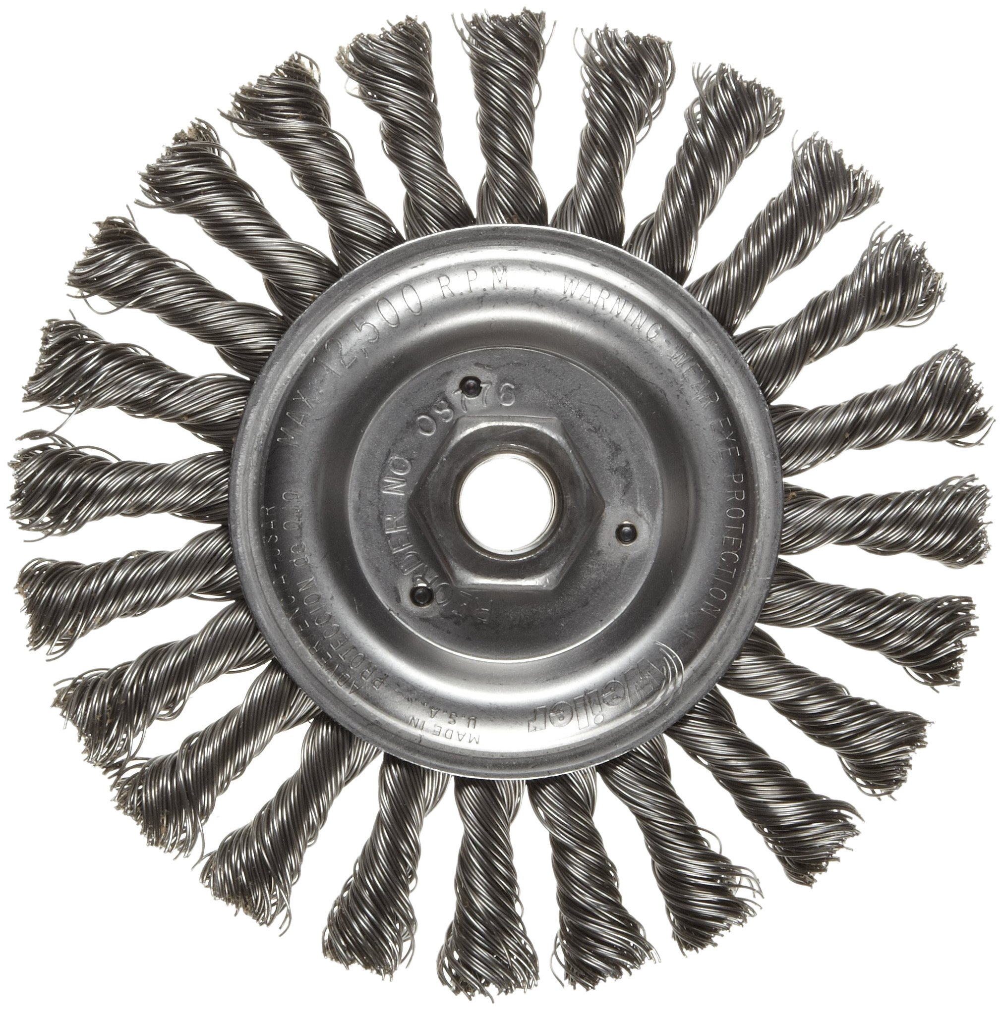 Weiler Dualife Narrow Face Wire Wheel Brush, Threaded Hole, Steel, Stringer Knotted, 6'' Diameter, 0.023'' Wire Diameter, 5/8-11'' Arbor, 1-3/8''  Bristle Length, 1/2'' Brush Face Width, 12500 rpm