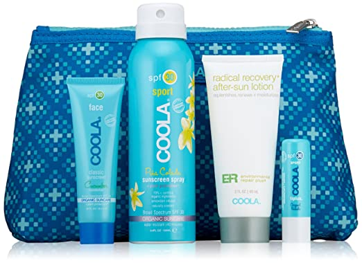 COOLA Organic Suncare, 4 Piece Organic Suncare Travel Set, TSA Approved Sizes