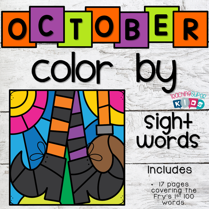 Halloween Colouring Page Printable (October Color by Sight Word)