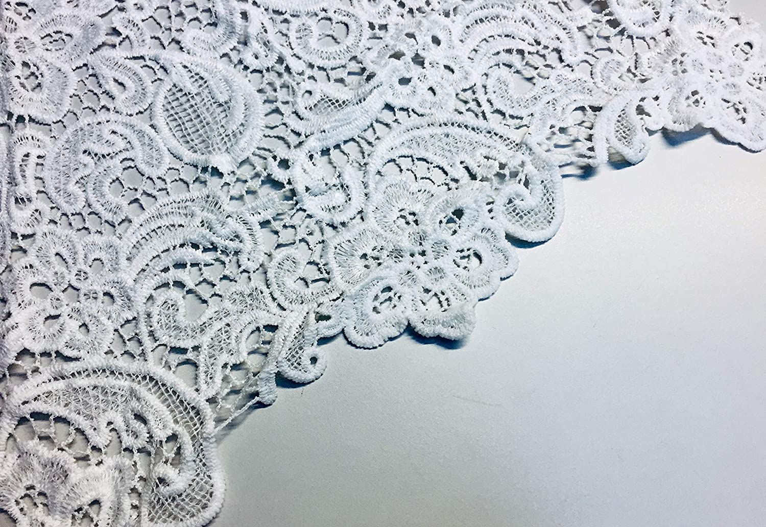 Guipure Lace Fabric By The Yard Ivory Embroidered Bridal Veil Wedding Dress Decoration