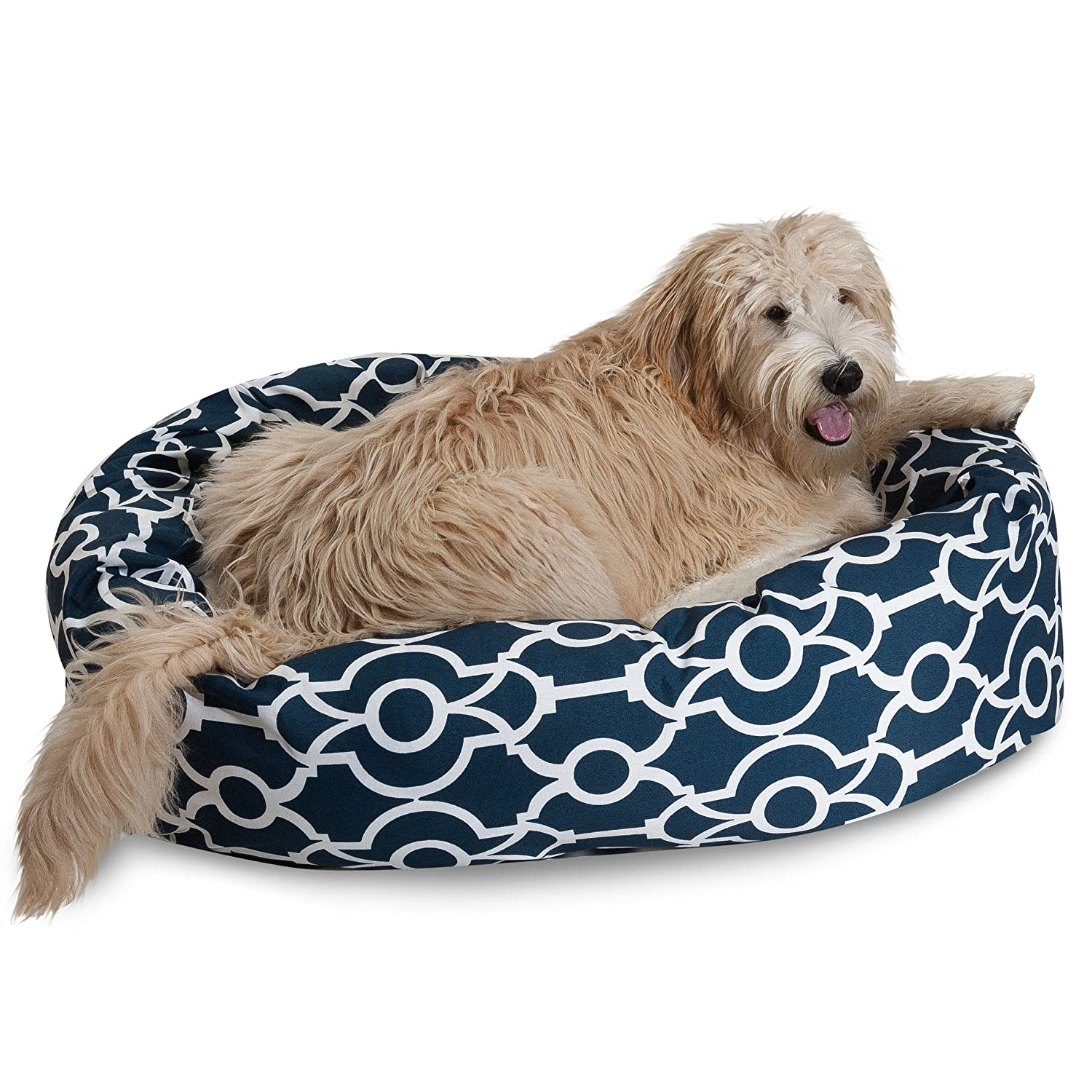 Navy bluee 81.28 cm Navy bluee 81.28 cm Majestic Pet Athens Sherpa Bagel Bed, 32 , Navy