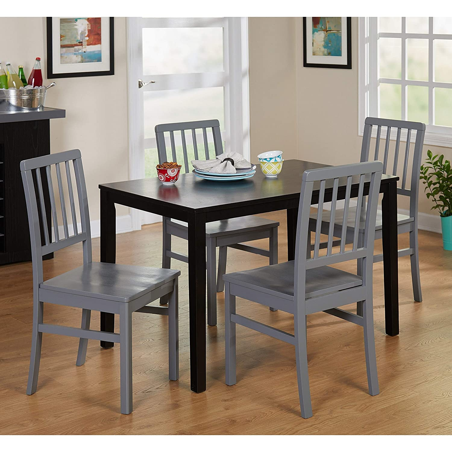 Amazon com simple living products tms camden rubberwood dining chair gray 4 pack table chair sets
