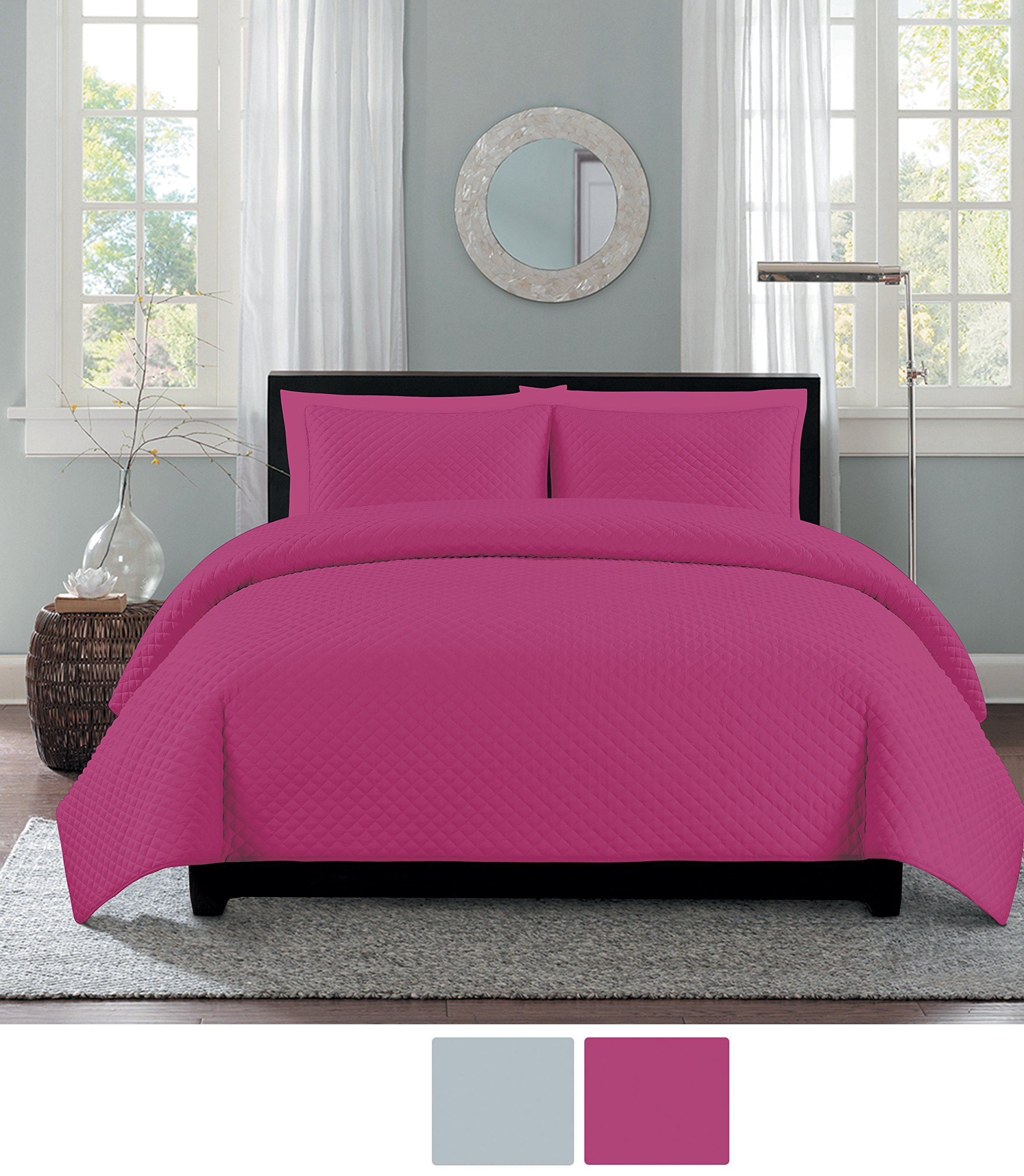 NC Home Fashions One Inch Diamond quilt set, Full/Queen, Fuchsia Rose