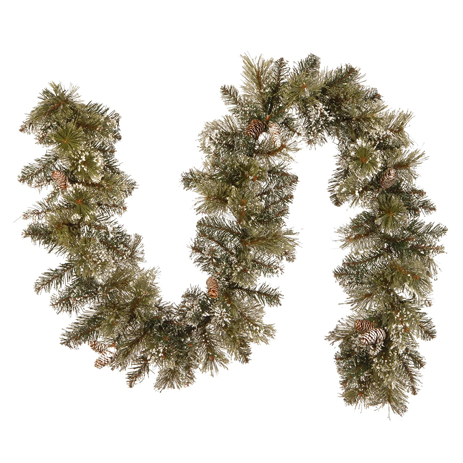 National Tree 6 Foot by 10 Inch Glittery Bristle Pine Garland with Cones GB1-50-6A-1
