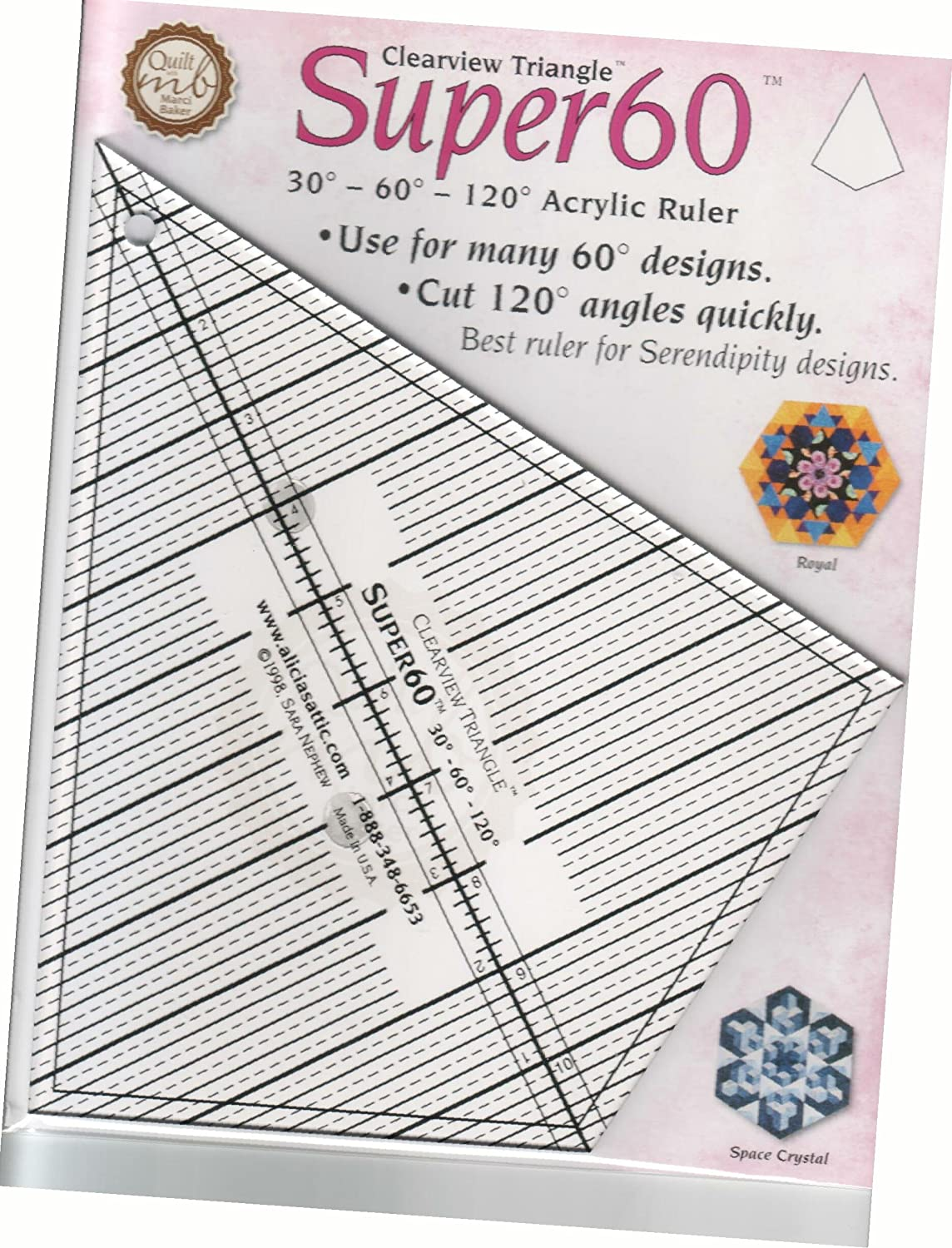Amazon.com: Clearview Triangle Tool Super 60: Arts, Crafts & Sewing : 60 degree triangle quilting ruler - Adamdwight.com
