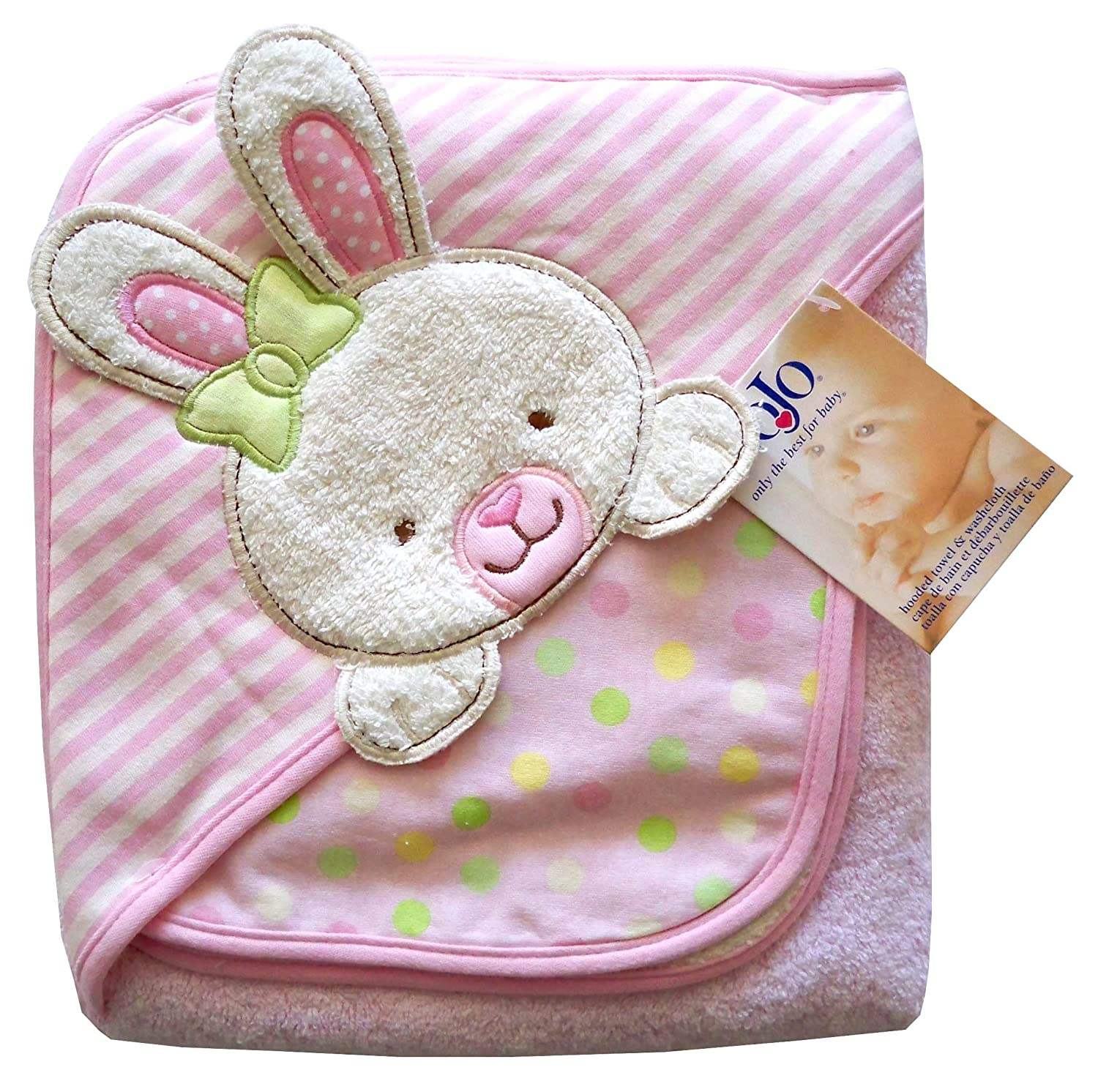 Amazon.com : Nojo Character Bath Collection 3D Character Applique Hooded Towel and Washcloth Set, Bunny (Discontinued by Manufacturer) : Baby Washcloths : ...