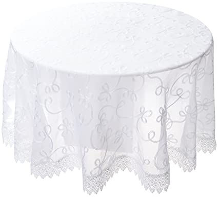 Violet Linen Elegant Embroidered Lace Sheer Swiss Design Tablecloths,  70u0026quot; Round, White