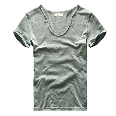 Zecmos Mens V Neck Slim Fit 100 Cotton T Shirts Color Blue Size S