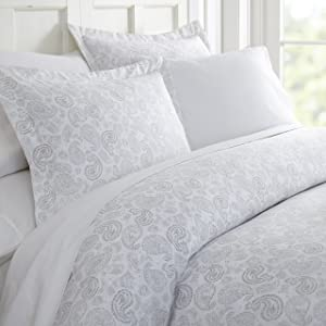ienjoy Home Duvet Cover Set Coarse Paisley Patterned QueenLight Gray