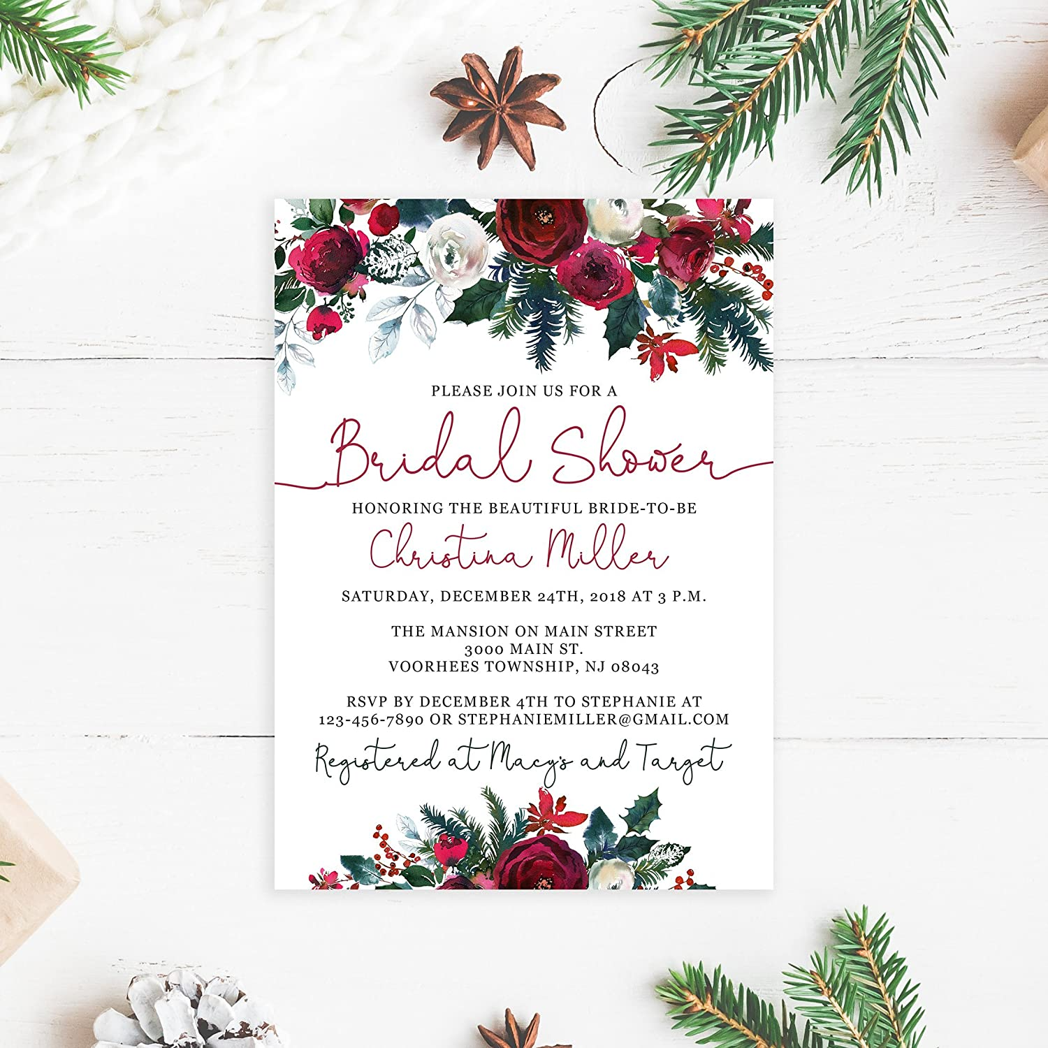 Amazon.com: Christmas Bridal Shower Invitations with White Envelopes ...