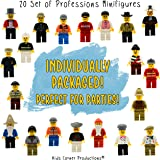 20 Set Minifigures - Professions | Individually Wrapped Party Favors For Kids | Goodie Bags | Best Birthday Gift | Special Collection Includes - Policeman, Fireman, Race Driver & More