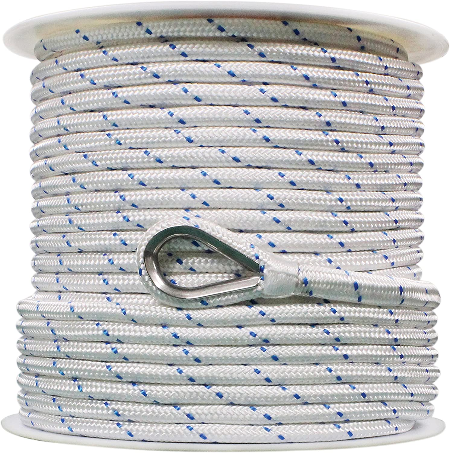 Extreme Max 3006.2505 White w//Blue Tracer 3//8 x 250 BoatTector Double Braid Nylon Anchor Line with Thimble