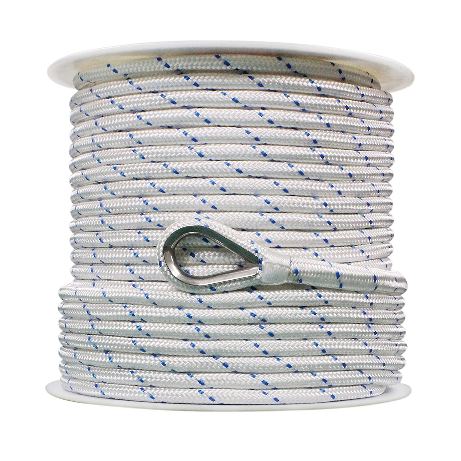 Extreme Max 3006.2514 White w//Blue Tracer 1//2 x 150 BoatTector Double Braid Nylon Anchor Line with Thimble