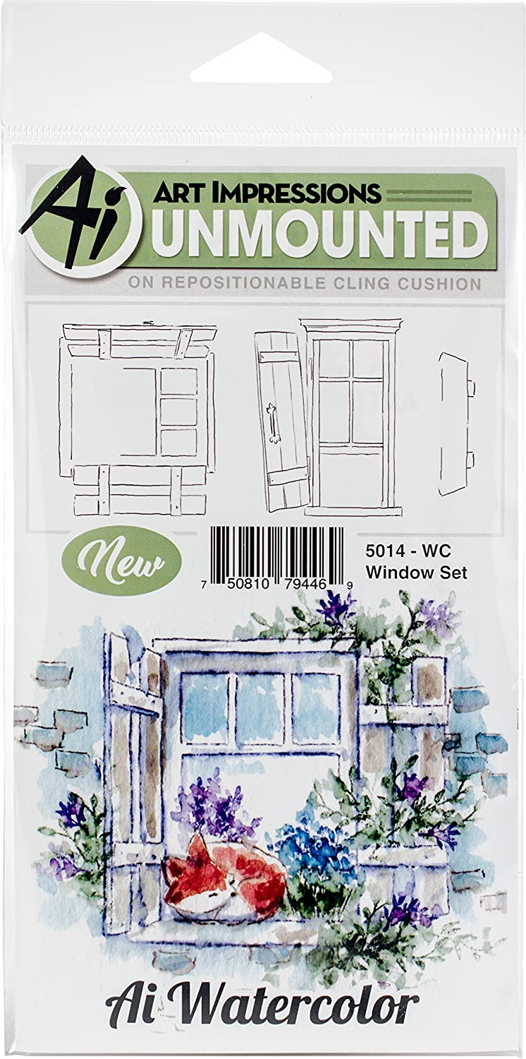 Art Impressions 5014 Watercolor Cling Rubber Stamps Window, Multicolor 914484JPpYL