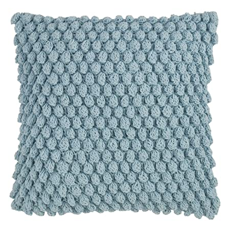 SARO LIFESTYLE Camargue Collection Crochet Pom Throw Pillow with Down Filling, 20 , Aqua