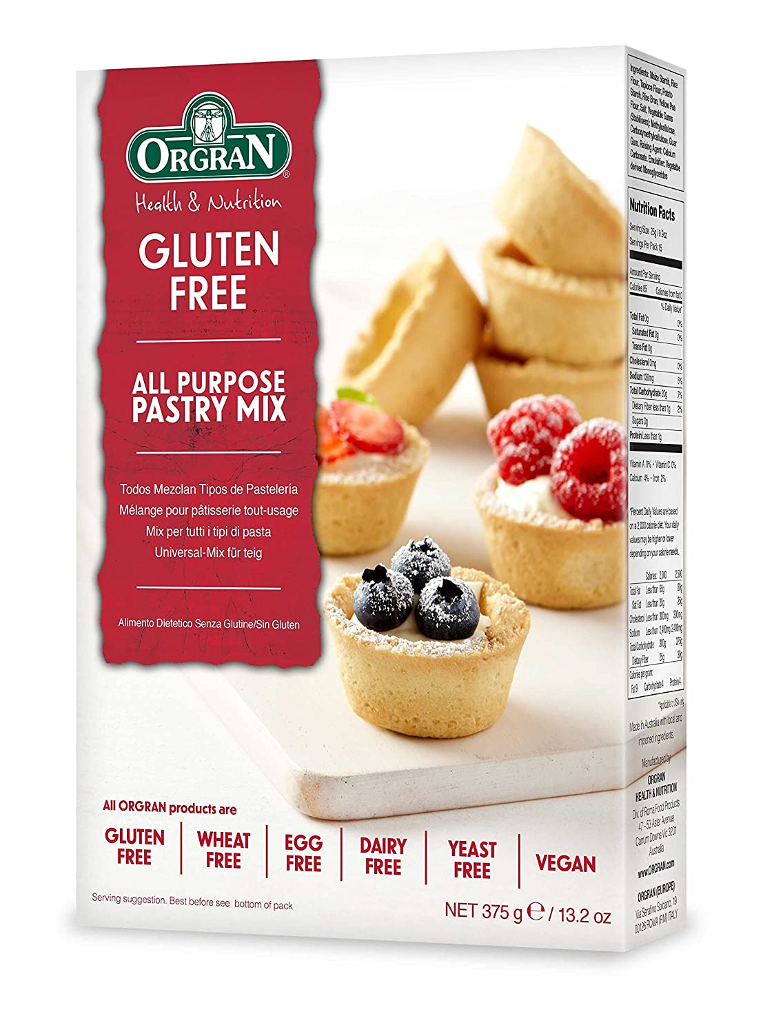 OrgraN All Purpose Pastry Mix, Gluten-Free, 13.2 Ounce Boxes (Pack of 8)