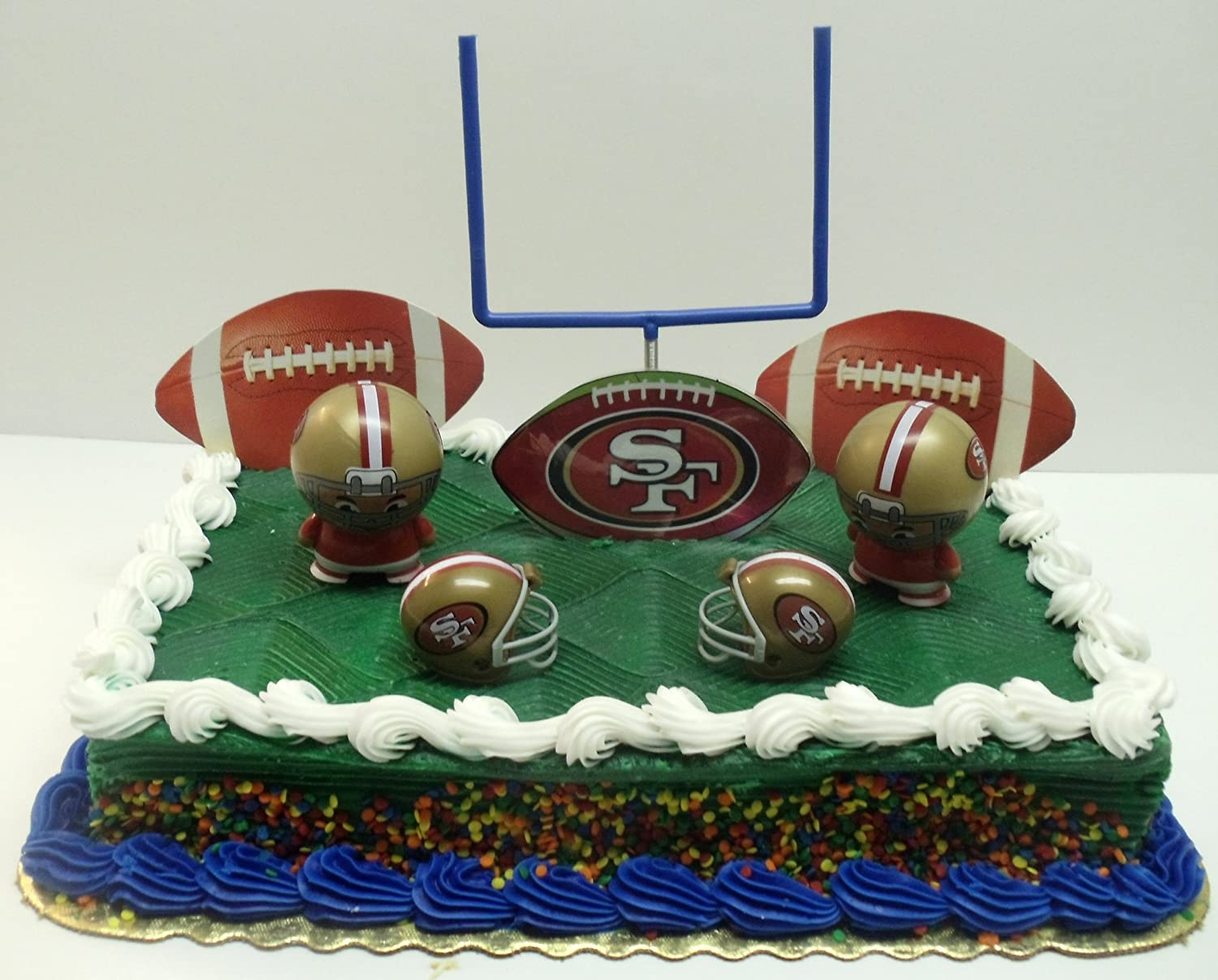 Football San Francisco Ers Birthday Cake Topper Set Featuring Helmets And Decorative Pieces Toys