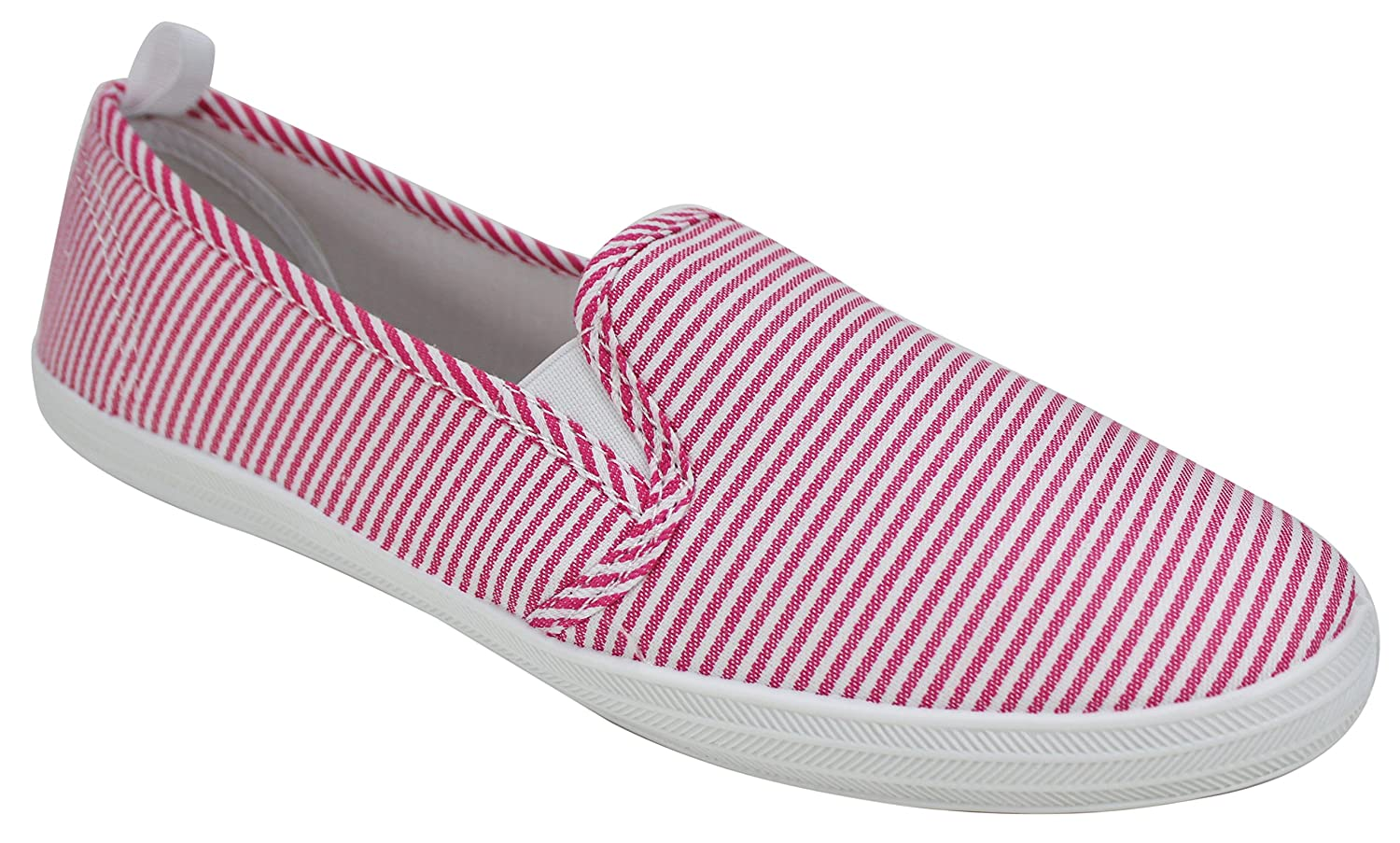 Take A Walk Womens Fashion Canvas Slip-on Shoe B07BFPVT6F 9 B(M) US|Pink/White