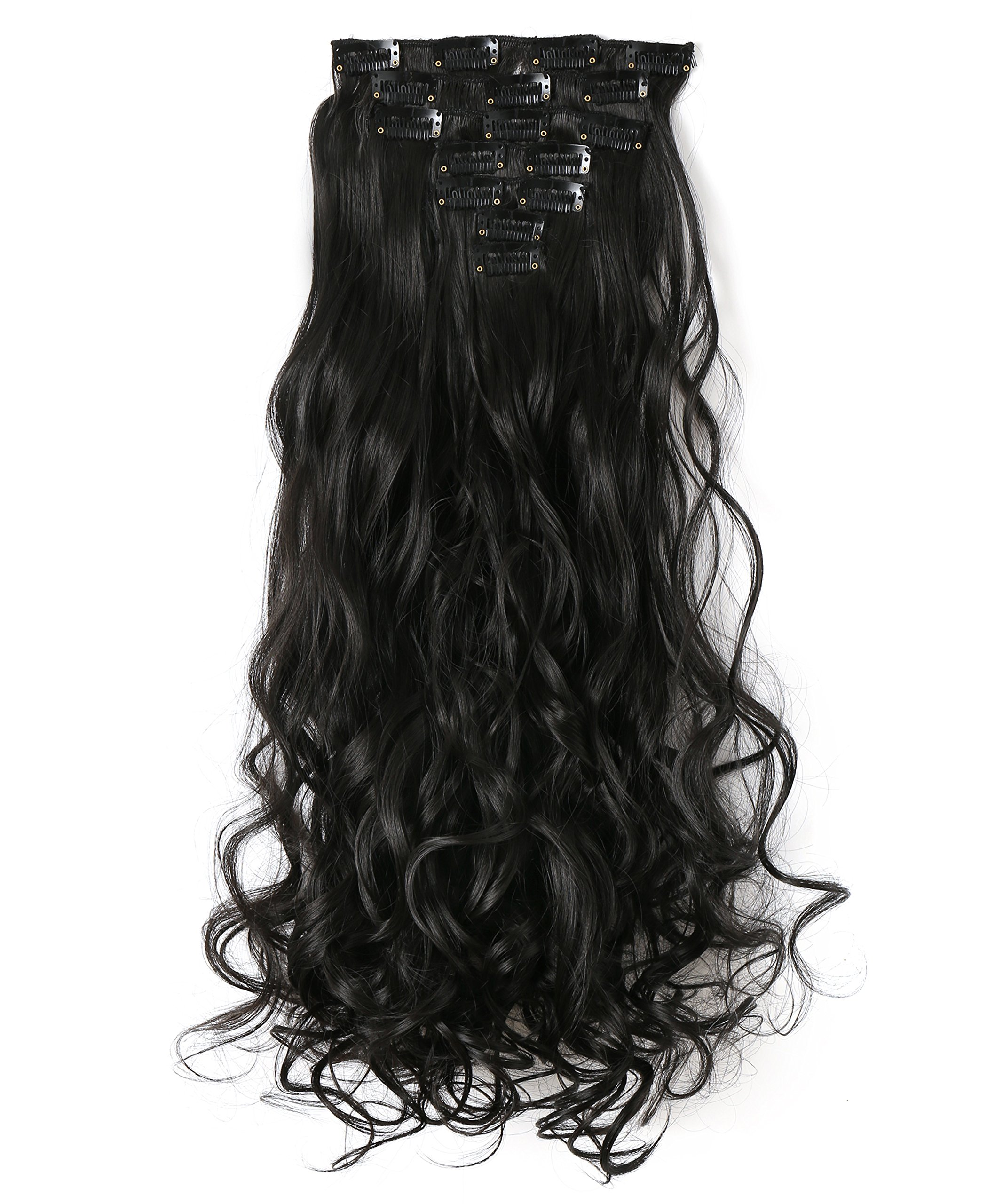 Amazon S Noilite 24 Curly Dark Brown Full Head Hairpiece Clip